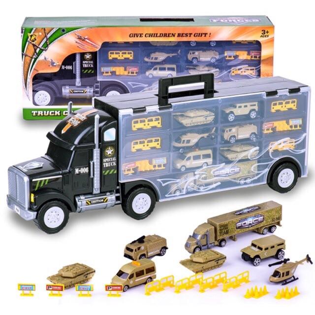 Truck carry case - xe cont chở xe quân đội