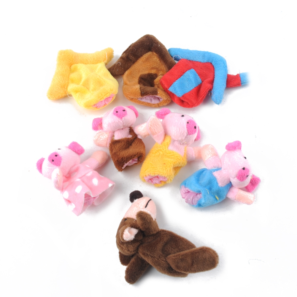 8pcs New Three Little Pigs Finger Puppets Kids Educational Hand Puppet Toys Story Toy for Boy Girl
