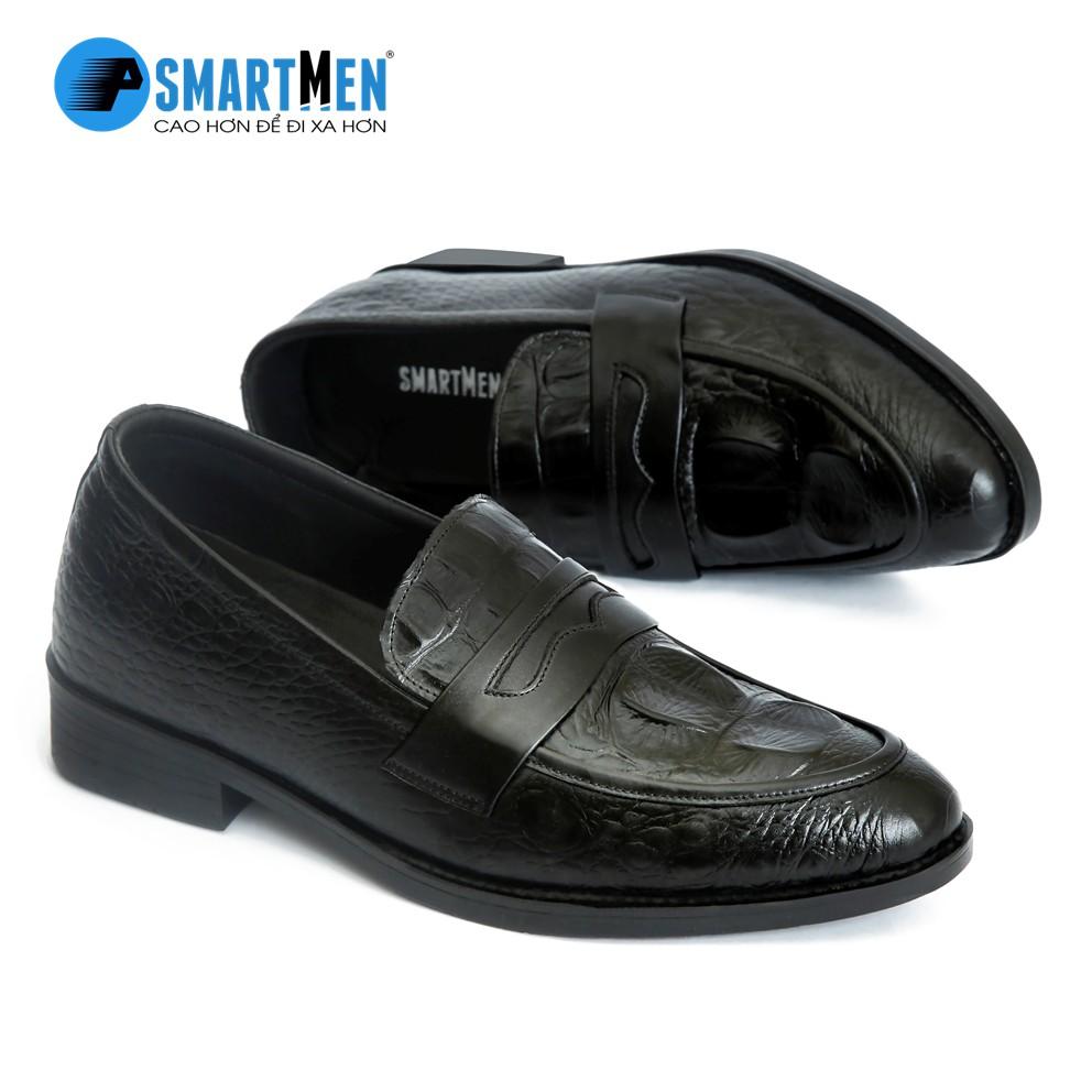 Giày lười công sở tăng chiều cao SmartMen GS04 (Đen)