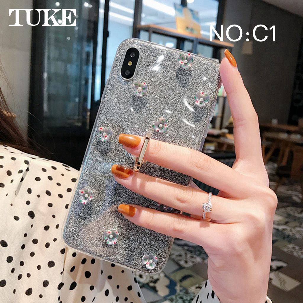 Silicon Case for Samsung Galaxy M20 Soft TPU Glitter Ring Stand Holder Cover