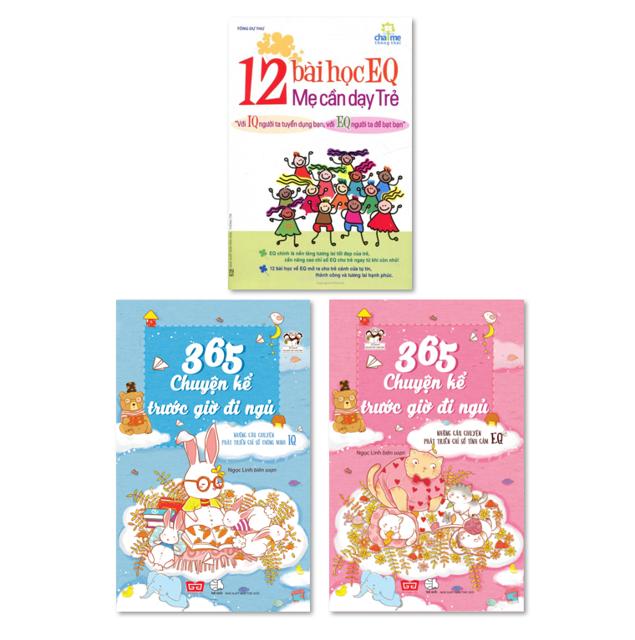 Sách- Combo 12 bài học EQ mẹ cần dạy trẻ và 365 Chuyện Kể Trước Giờ Đi Ngủ (Bộ 2 Cuốn)(TÁI BẢN)