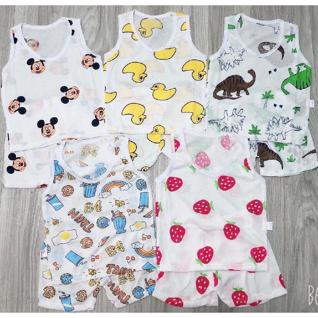 Bộ quần áo trẻ em ba lỗ chất cotton thông hơi QATE495 cho bé sơ sinh đến 16kg