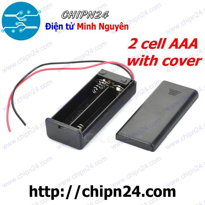 Hộp Đế pin 2 viên AAA (có nắp, có công tắc)