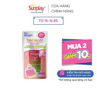 """Tinh chất chống nắng nâng tông dành cho da khô/thường Sunplay Skin Aqua Tone Up UV Essence Happiness Aura (Rose)50g giá chỉ còn <strong class=""""price"""">13.900.000.000đ</strong>"""