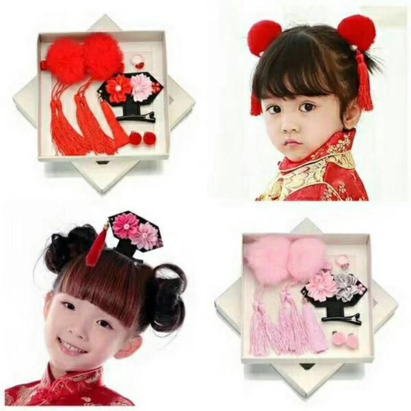 Bộ phụ kiện kẹp tóc + bông tai + nhẫn phong cách Trung Hoa đáng yêu cho bé gái