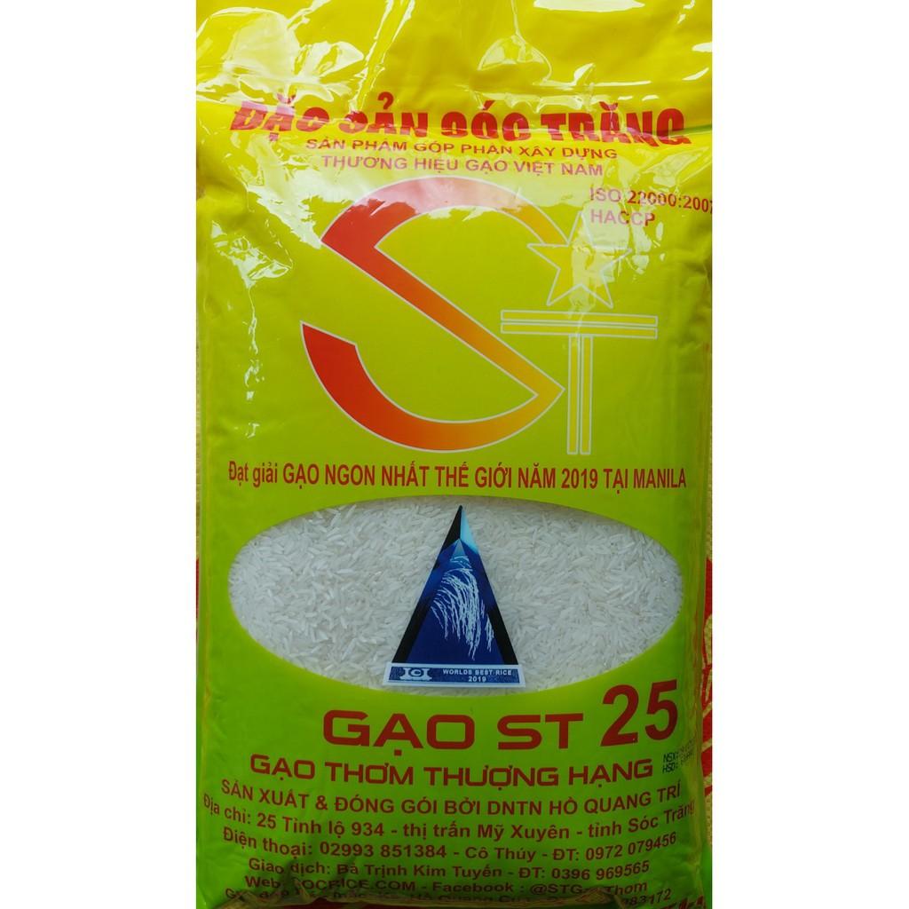 Gạo ST25 Chính hiệu Chú Cua - Gạo ngon nhất thế giới (túi 5kg)