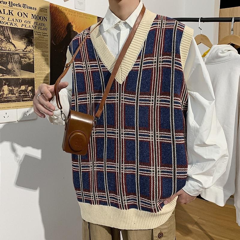 (พร้อมแจ้ง) เสื้อถักเสื้อกั๊กแขนกุดเสื้อกันหนาวเสื้อกั๊กแนวโน้มญี่ปุ่นลายเสื้อกั๊ก