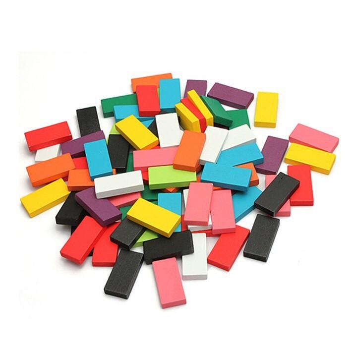 Bộ 100 Quân Domino Gỗ Nhiều Màu