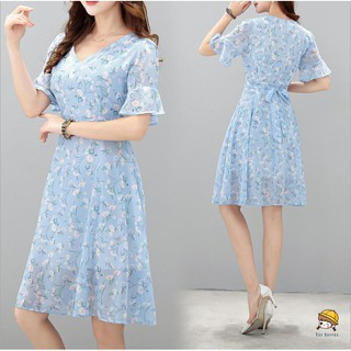 Short-sleeve floral dress Váy hoa ngắ