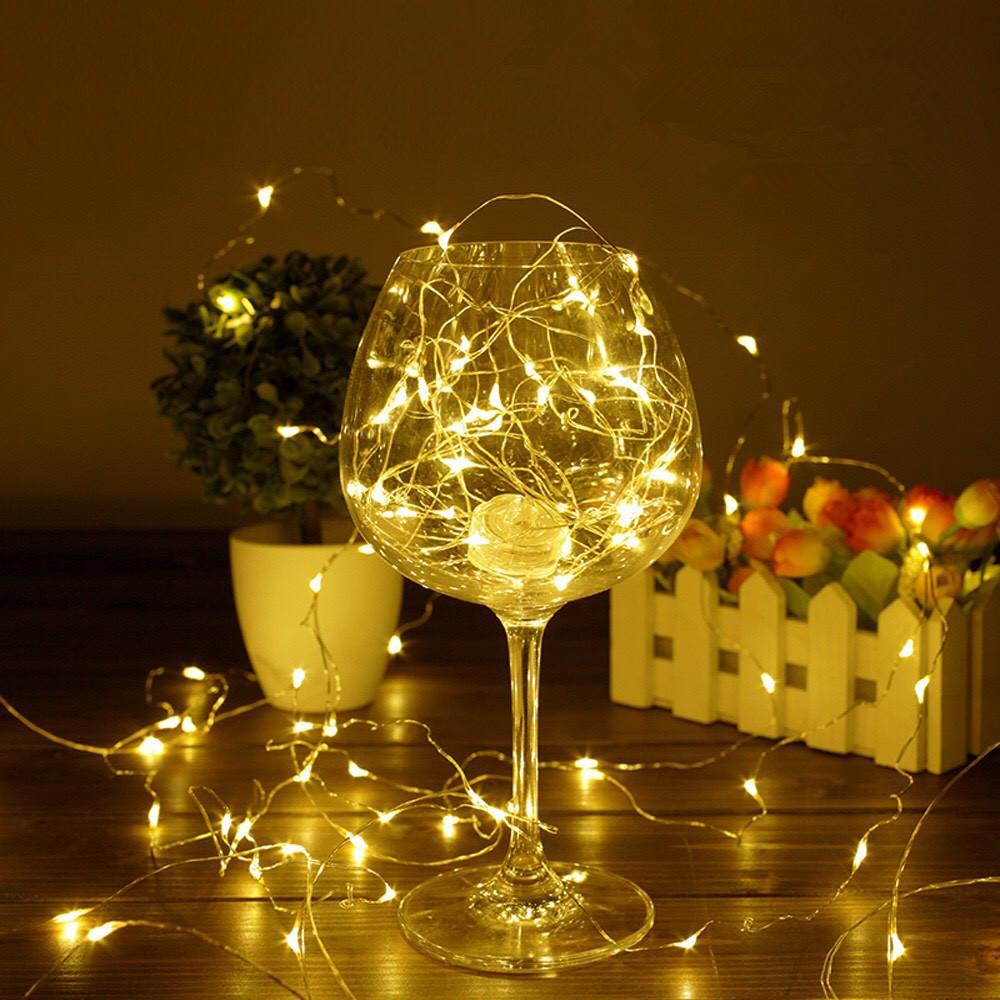 Đèn Led Tặng Kèm Pin Dây 5M 50 Bóng Đèn Led Đom Đóm Fairy Light Decor Trang Trí Quấn Cây Noel CR2032/AG13