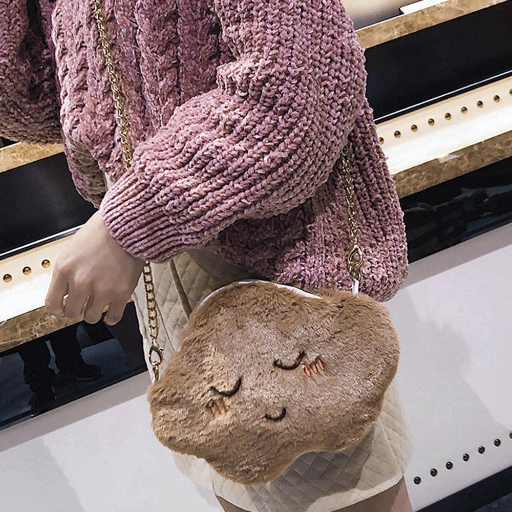 [Mã FAMAYWA giảm 10K đơn 50K] Túi đeo chéo hình đám mây phối lông thiết kế dễ thương cho nữ