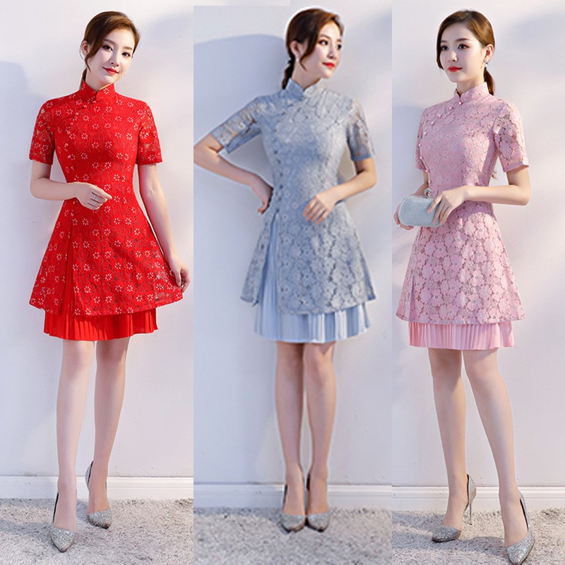 2498318878 - đầm dự tiệc sườn xám váyGirl Odei cheongsam dress lace short 2018 new fresh temperament lady body daily