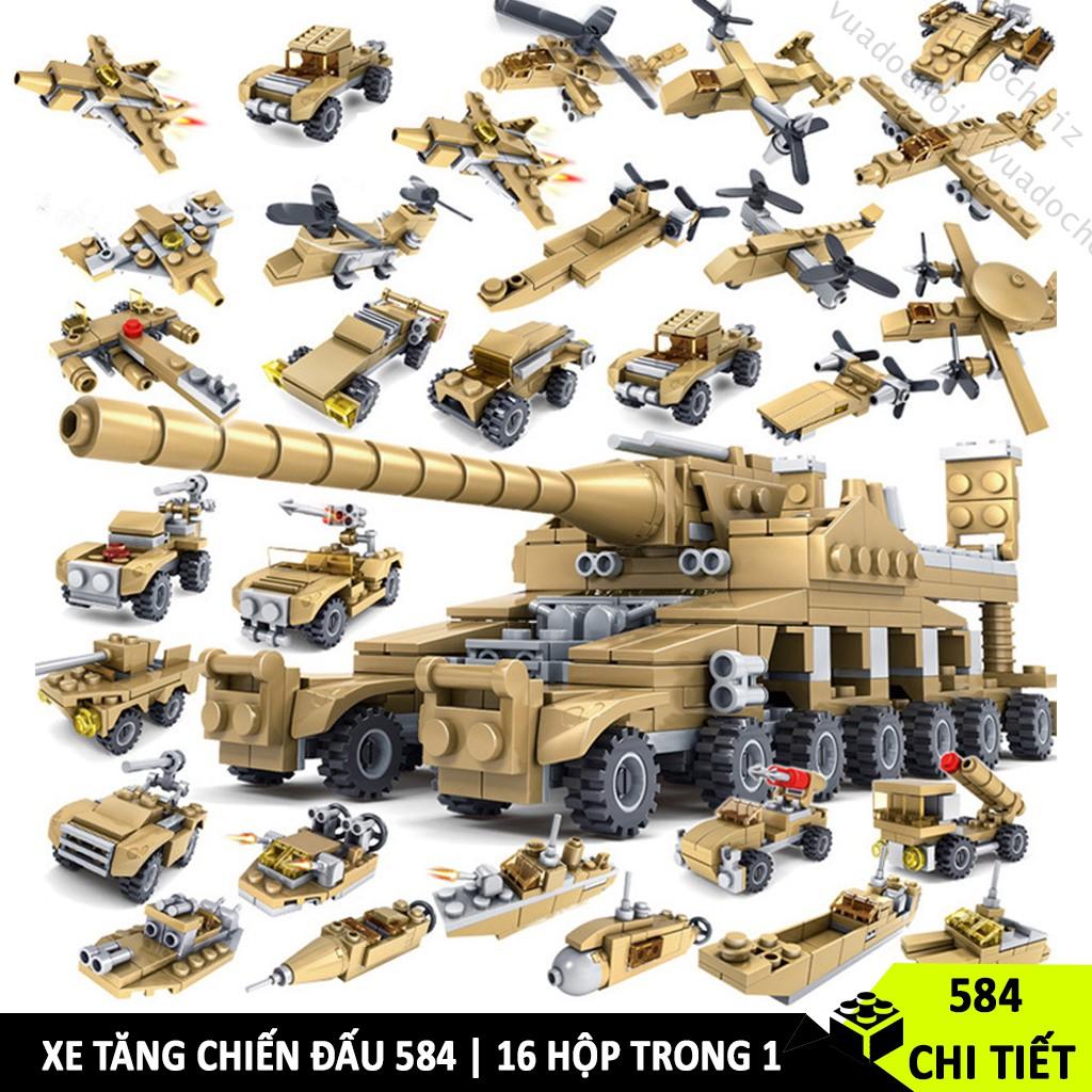 [584 CHI TIẾT – 16 HỘP 1] Đồ chơi Lego xếp hình lắp ráp xe tăng chiến đấu Lego máy bay thế chiến 2