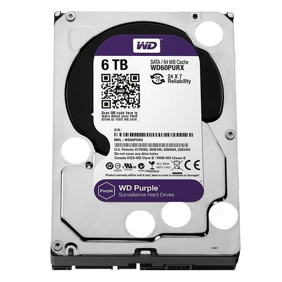 Ổ Cứng HDD Camera WD Purple 6TB/64MB/3.5 IntelliPower - WD60PURX