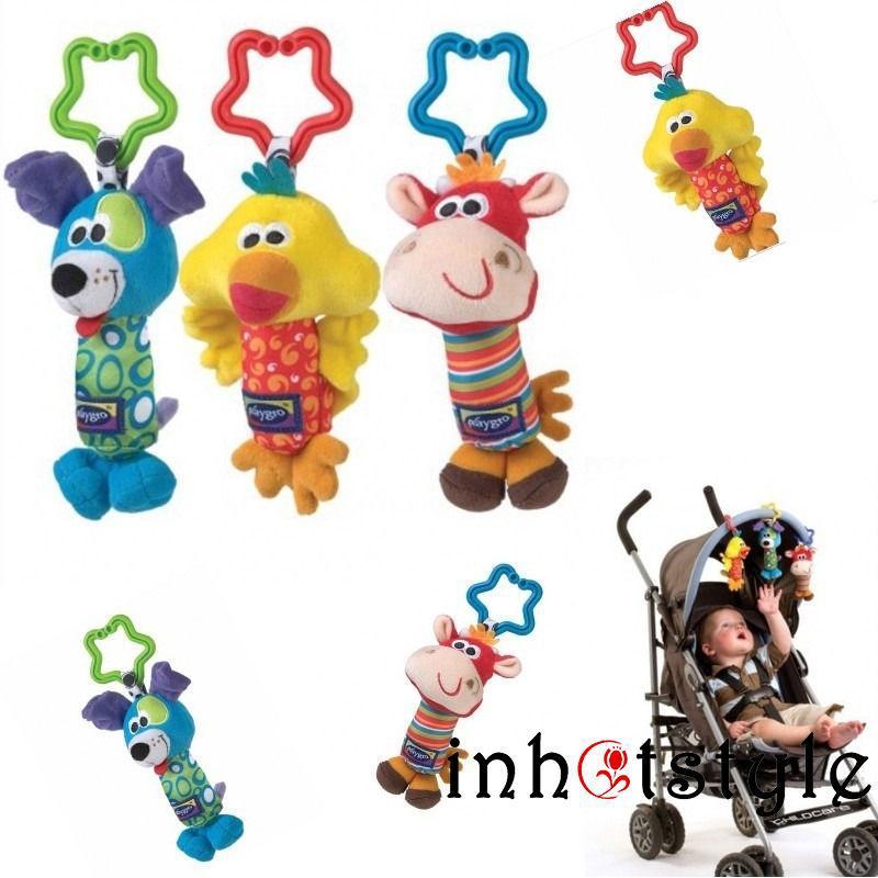 VAA-Baby Soft Animal Handbells Rattles Bed Stroller Bells Developmental Toy