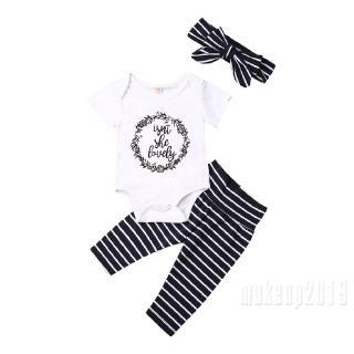 Mu♫-Newborn Baby Girls Isn't She Lovely Flowers Wreath Romper Onesie + Black White Striped Pants + Matching