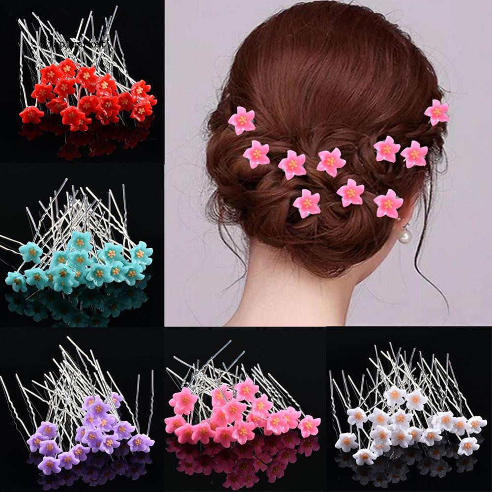 zb_10Pcs Fashion Women Girls U Shaped Barrette Flower Hairpin Stick Bridal Headwear