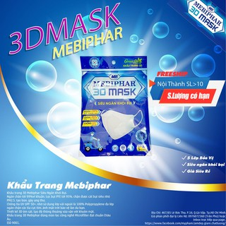 [Mã FAKHOE15 giảm 15K đơn 99K] Khẩu Trang 3D Mask N95 MEBIPHAR.
