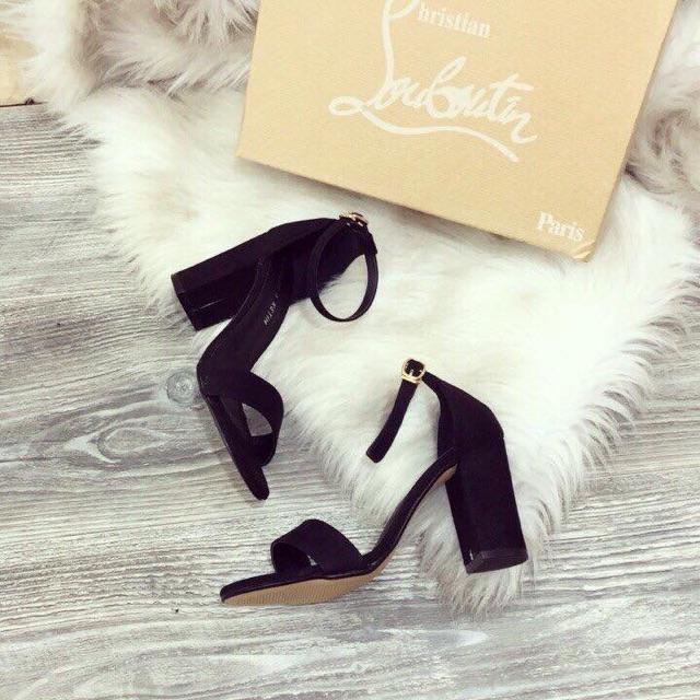 Sandal gót vuông nữ quai ngang, 7 phân, da nhung, si mờ