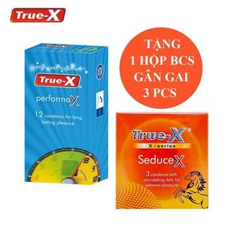 Bộ 1 hộp Bao Cao Su kéo dài thời gian cực tốt True - X tặng 1 hộp gân gai kéo dài thời gian True-X Seducex thumbnail