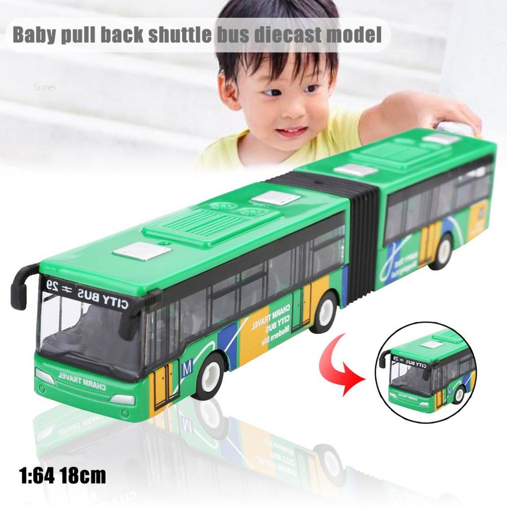💗Sunei💗1:64 18cm Baby pull back shuttle bus diecast model vehicle Kids Toy New