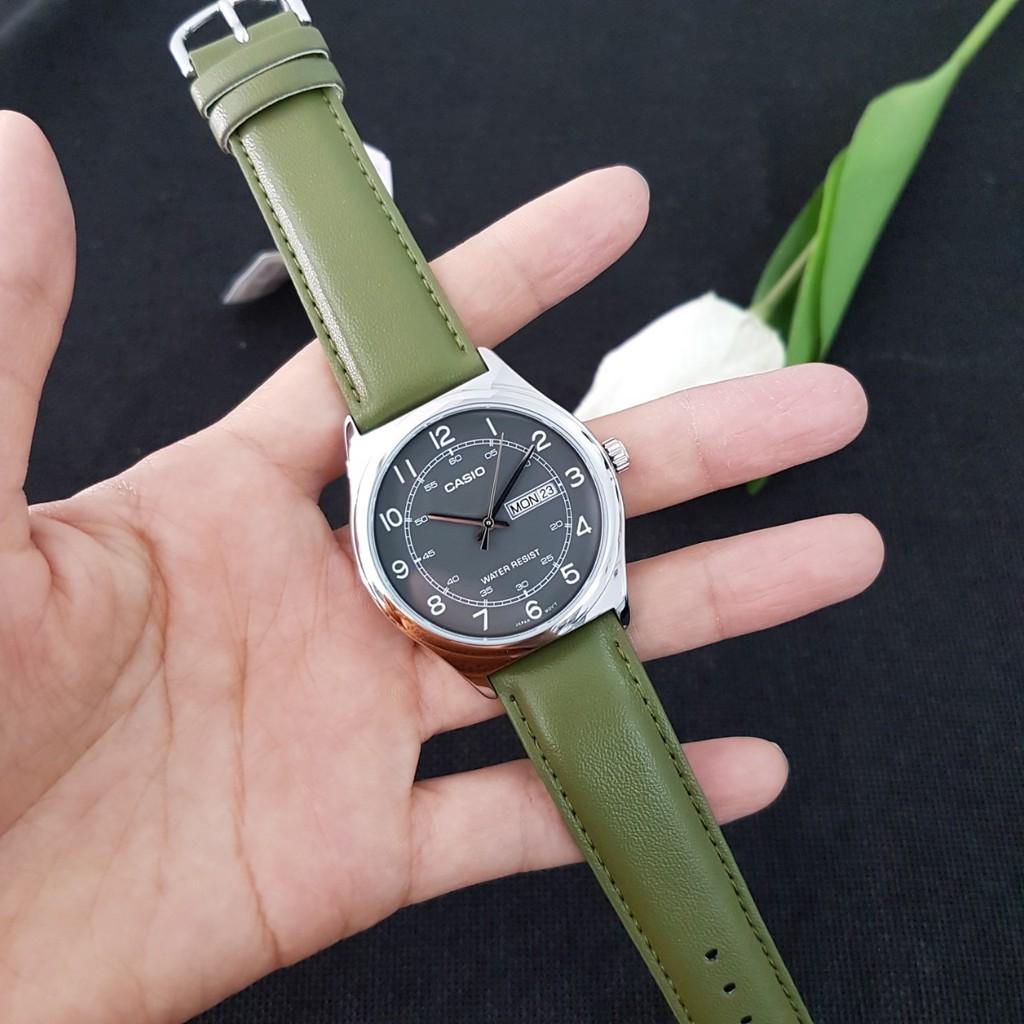 Đồng hồ nam dây da chính hãng Casio Anh Khuê MTP-V006L-3BUDF