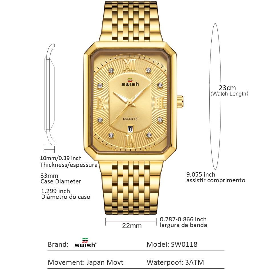 Đồng hồ nam SWISH mặt chữ nhật  kính saphirre cao cấp, đúc đặc . ( Mã: SW03)