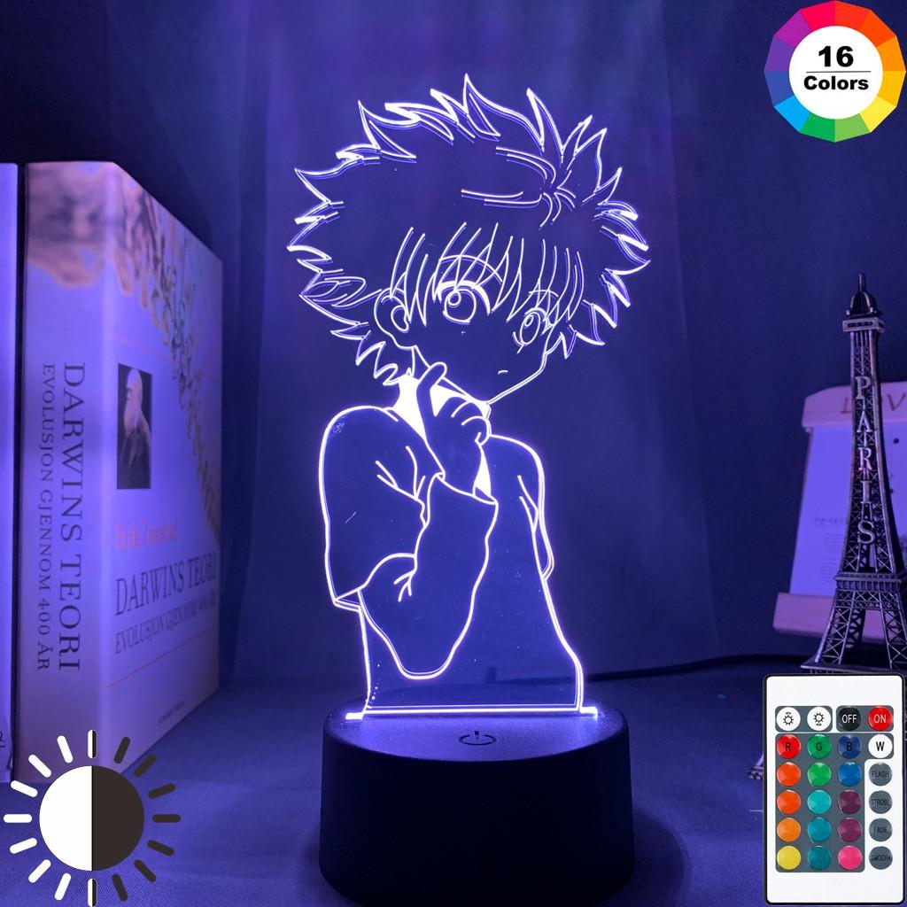 Đèn Led 3d Anime 16 Màu Tặng Kèm Postcard Tạo Hình Nhân Vật Hunter X Hunter cho phòng ngủ Manga Quà tặng