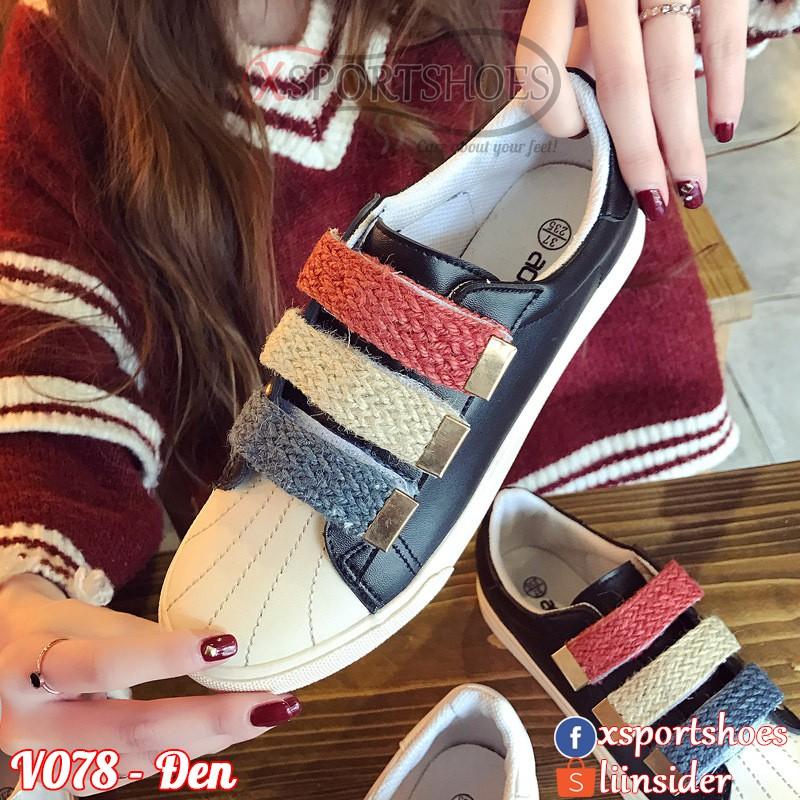 [ORDER] Giày thể thao nữ V078 zipper 3 màu - Giày sneaker thời trang màu đen - trắng