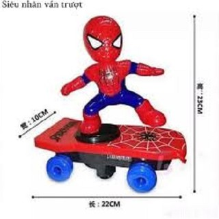 Đồ chơi người nhện lướt ván dùng pin phát nhạc xoay 360 độ dành cho bé trai trên 1 tuổi, do choi nguoi nhen dung pin