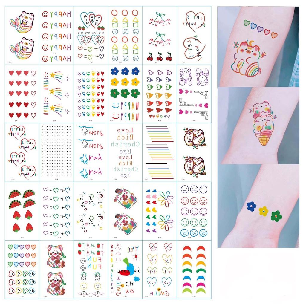 (Hàng Mới Về) Set 30 Hình Xăm Dán Tạm Thời Chống Nước Nhiều Kiểu Đẹp Mắt
