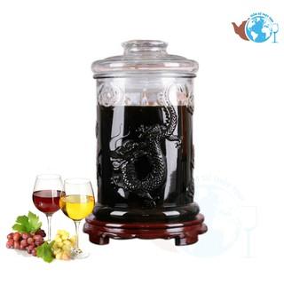 Bình ngâm rượu thủy tinh 8 lít không van dáng trụ hoa văn rồng