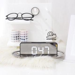 Đồng hồ để bàn chữ nhật mặt gương