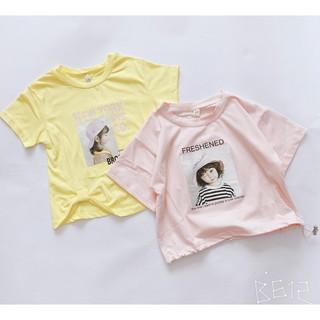 Áo bé gái RIO- Áo cộc tay hình cô gái cutechất cotton hình in 3d vàng hồng bé gái hàng có sẵn ảnh shop tự chụp