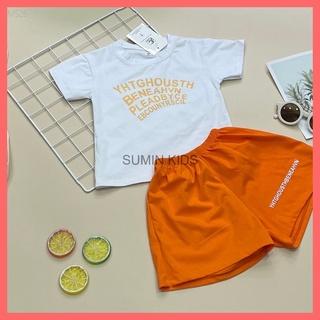 [Made in Việt Nam] Bộ cộc tay bé trai gái – Quần áo trẻ em Sumin Kids – Chất cotton cao cấp – Màu Cam Trắng