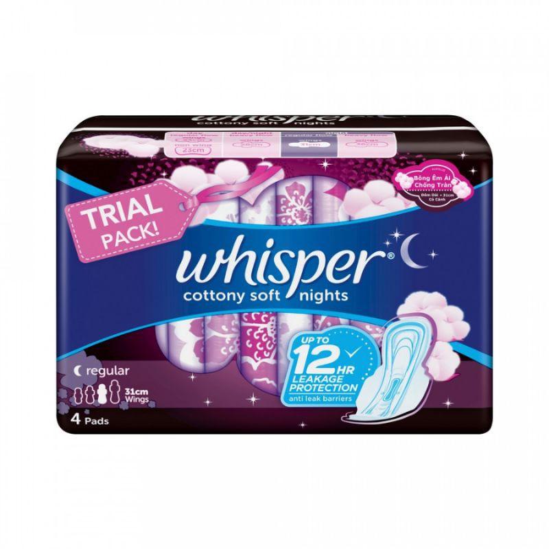 Băng vệ sinh Whisper Cottony Soft Nights 4 miếng