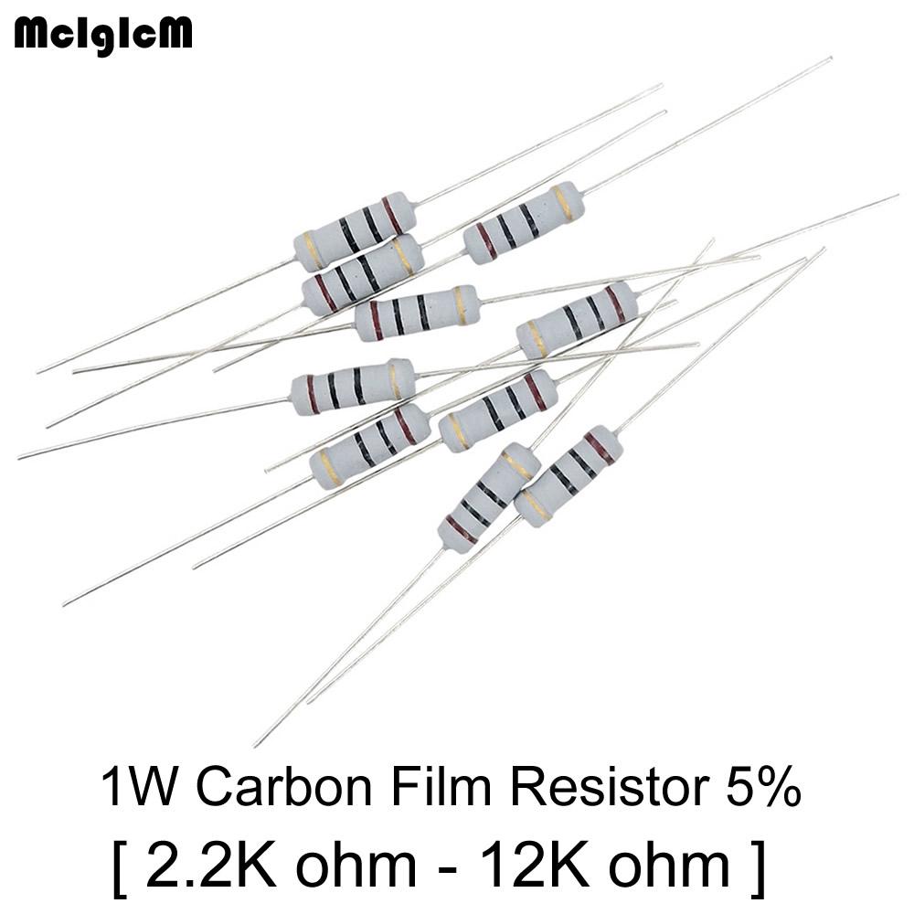 Mcigicm 500Pcs Resistor Film Karbon 5k Ohm - 12K Ohm 1W 2.4k 2.7k 3K 3.9k 5.1k Ohm