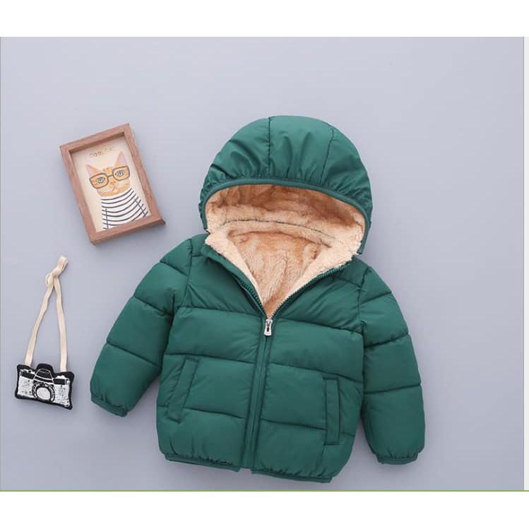 áo phao trơn ( lót lông cừu bên trong ) siêu ấm loại 1 cho bé trai bé gái