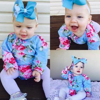 Mu♫-Fashion Newborn Baby Girls Long Sleeve Floral Romper Jumpsuit+Headband Clothes 2Pcs Outfits