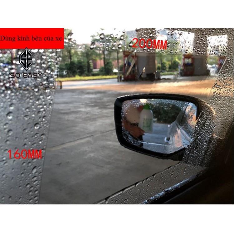 2 Miếng dán decal 160*200mm hình chữ nhật NANO film chống tụ nước,chống mờ,chống chói cửa sổ kính bên xe hơi,xe