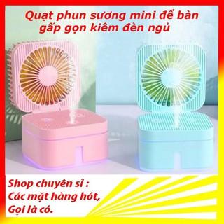 Quạt phun sương mini để bàn gấp gọn kiêm đèn ngủ Magic Cube 3 tốc độ tiện lợi hơn quạt mini cầm tay, quạt sạc điện