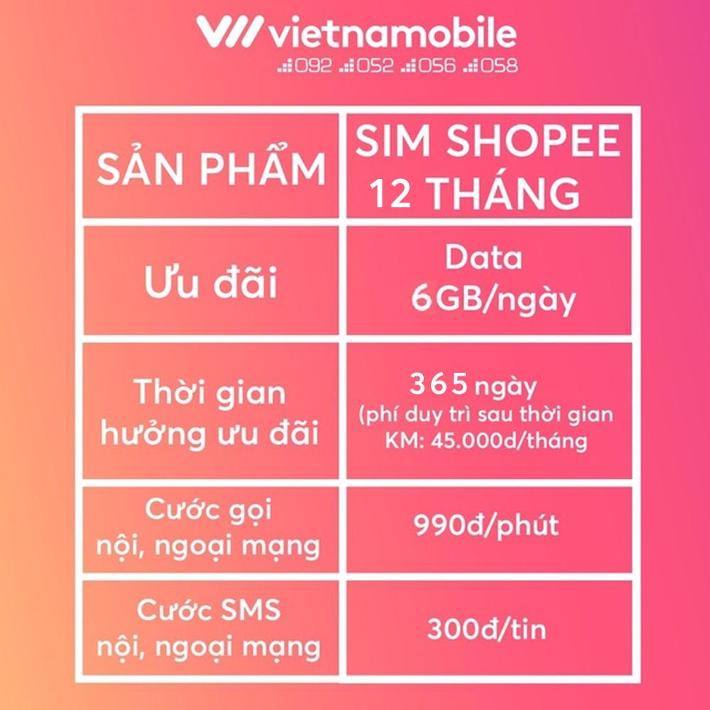 [Mã ELMALLMT giảm 8% đơn 900K][Miễn Phí 12 Tháng] Sim Data 6GB/Ngày - 180 GB/Tháng Độc Quyền VIETNAMOBILE - SHOPEE