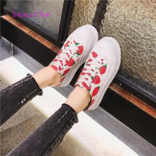 Strawberry Half Slippers Female Canvas Shoes Casual Muffin No Heel Lazy Shoes