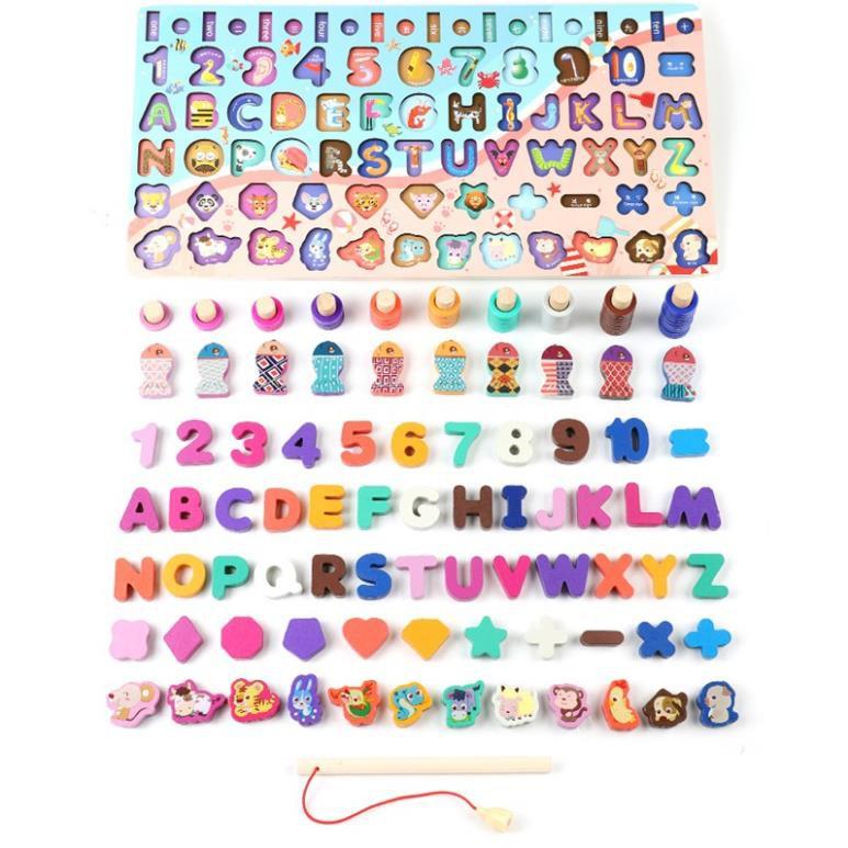 [ minmy5 ] Đồ chơi bảng chữ cái 6 tầng kèm số, con vật và các phép tính hình học