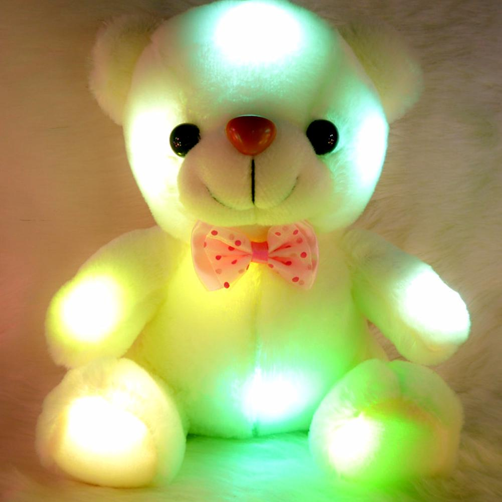 Colorful LED Flash Light Bear Doll Toys Up For Children Birthday Christmas Gift Wedding Decoration
