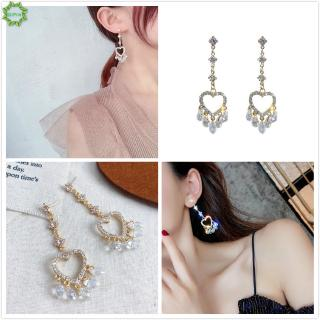 Cod Qipin INS Elegant Hollow Heart Love Diamond Crystal Long Tassel Pendant Earrings Women Gifts