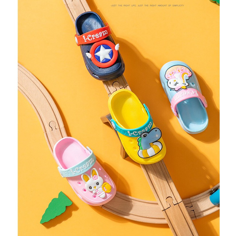 Dép cho bé I-cream, dép sục cross cho bé trai bé gái siêu nhẹ chống trơn trượt