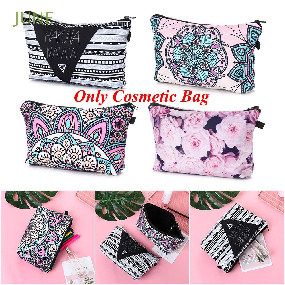 JUNE Floral Printing Multicolor Pattern Student Pencilcase Handbags Travel Organizer Makeup Storage Bag