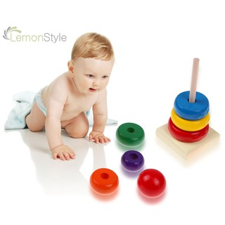[IN STOCK/COD]Kids Baby Toy Wooden Stacking Ring Tower Educational Toys Rainbow Stack Up