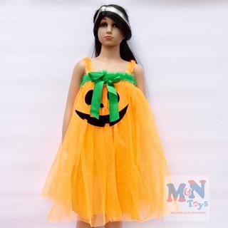 Váy bí ngô voan hóa trang Halloween cho bé từ 4-7 tuổi